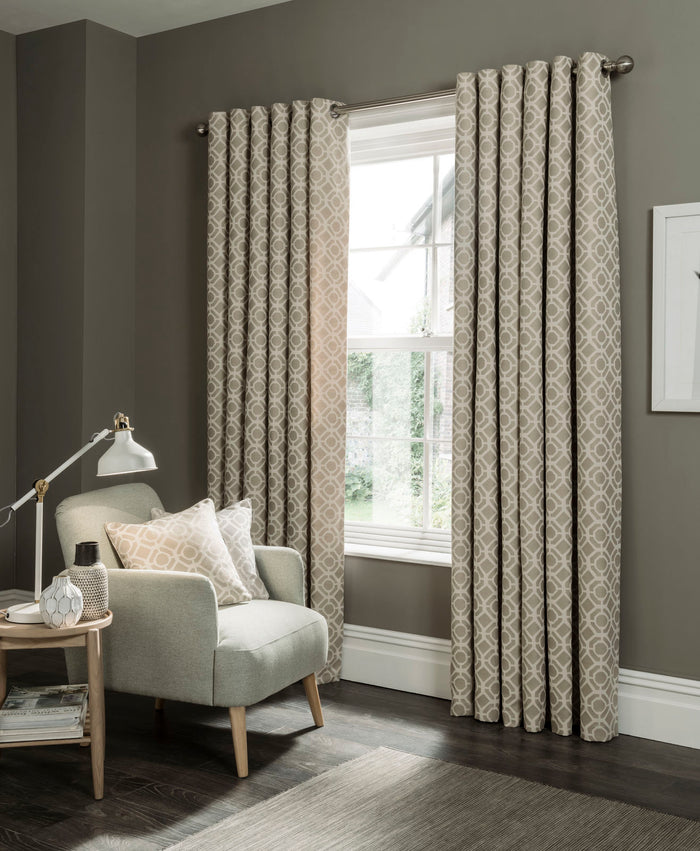 Clarke & Clarke 'Castello' Designer Curtains | Mushroom Two Toned Geometric Design