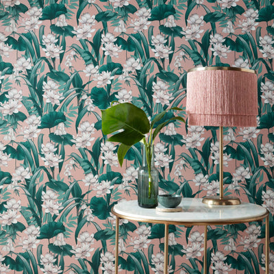 Celeste Accessorize Floral Wallpaper | Shimmering Blush Pink & Green & White - Your 4 Walls