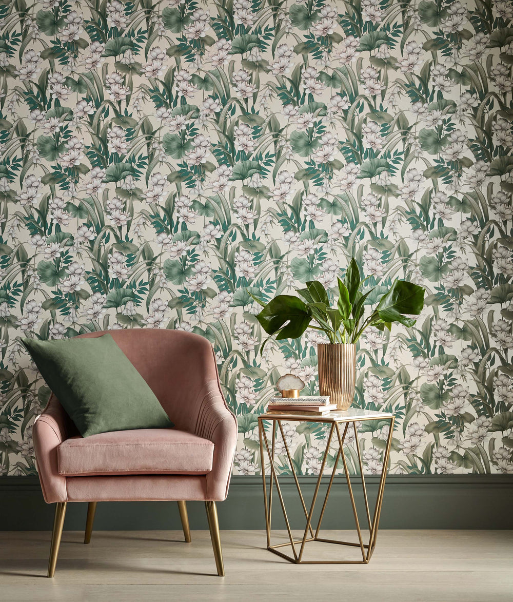 Celeste Accessorize Floral Wallpaper | Shimmering Taupe Pink, Green & White - Your 4 Walls
