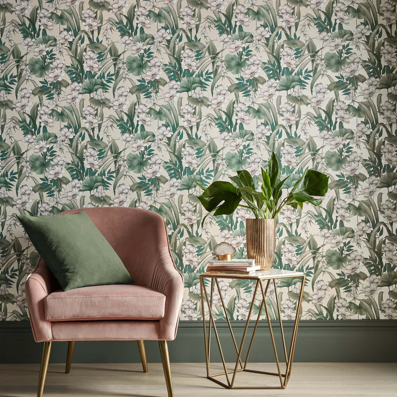 Celeste Accessorize Floral Wallpaper in Taupe Pink, Green & White - Your 4 Walls