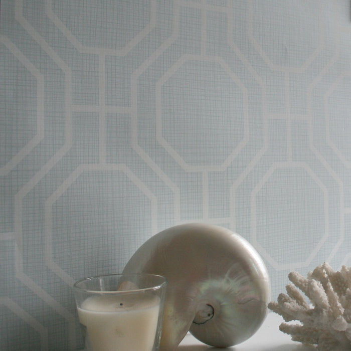 Octagon Contemporary Geometric Wallpaper | Duck Egg Blue & White