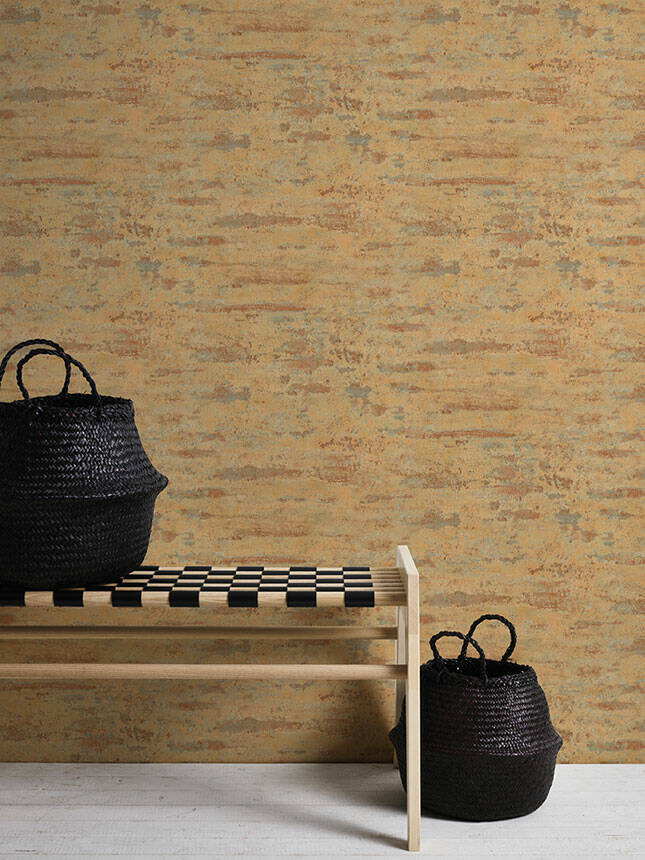 Textured Concrete & Plaster Effect Wallpaper in Yellow, Brown & Orange - Your 4 Walls