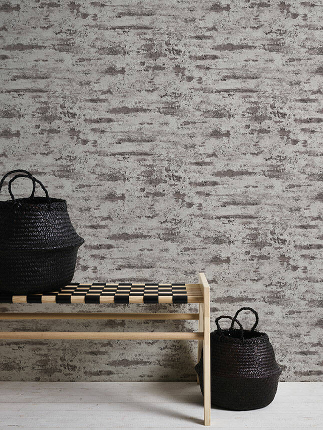 Textured Concrete & Plaster Effect Wallpaper in Grey, Black & Brown - Your 4 Walls