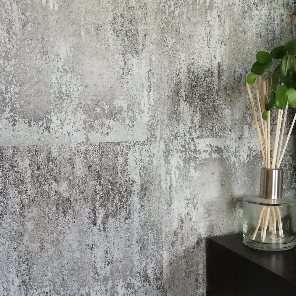 Textured Concrete Tile Effect Wallpaper in Charcoal & Grey - Your 4 Walls