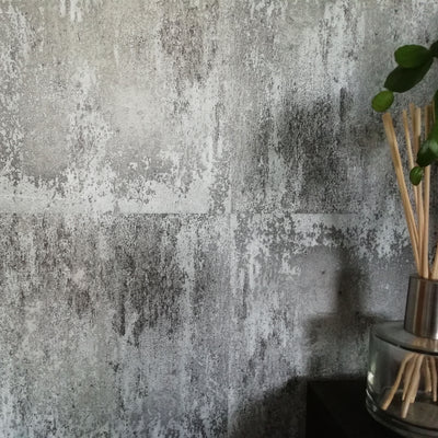 Textured Concrete Tile Effect Wallpaper | Charcoal & Grey