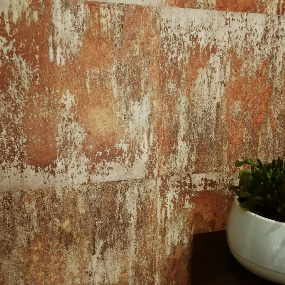 Textured Rusted Concrete Tile Wall Effect Wallpaper | Rusted Orange, Gold & Charcoal - Your 4 Walls