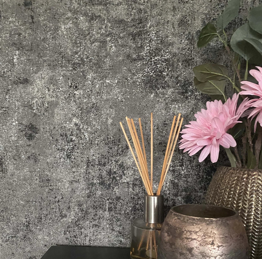Textured Concrete Effect Wallpaper in Charcoal, Black & Silver Grey