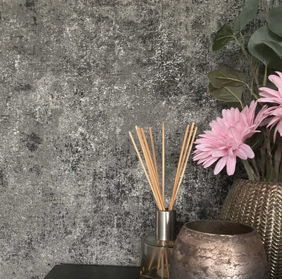 Textured Concrete Effect Wallpaper in Charcoal, Black & Silver Grey - Your 4 Walls