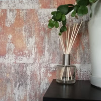 Textured Rusted Concrete Tile Wall Effect Wallpaper | Rusted Orange, Gold & Charcoal
