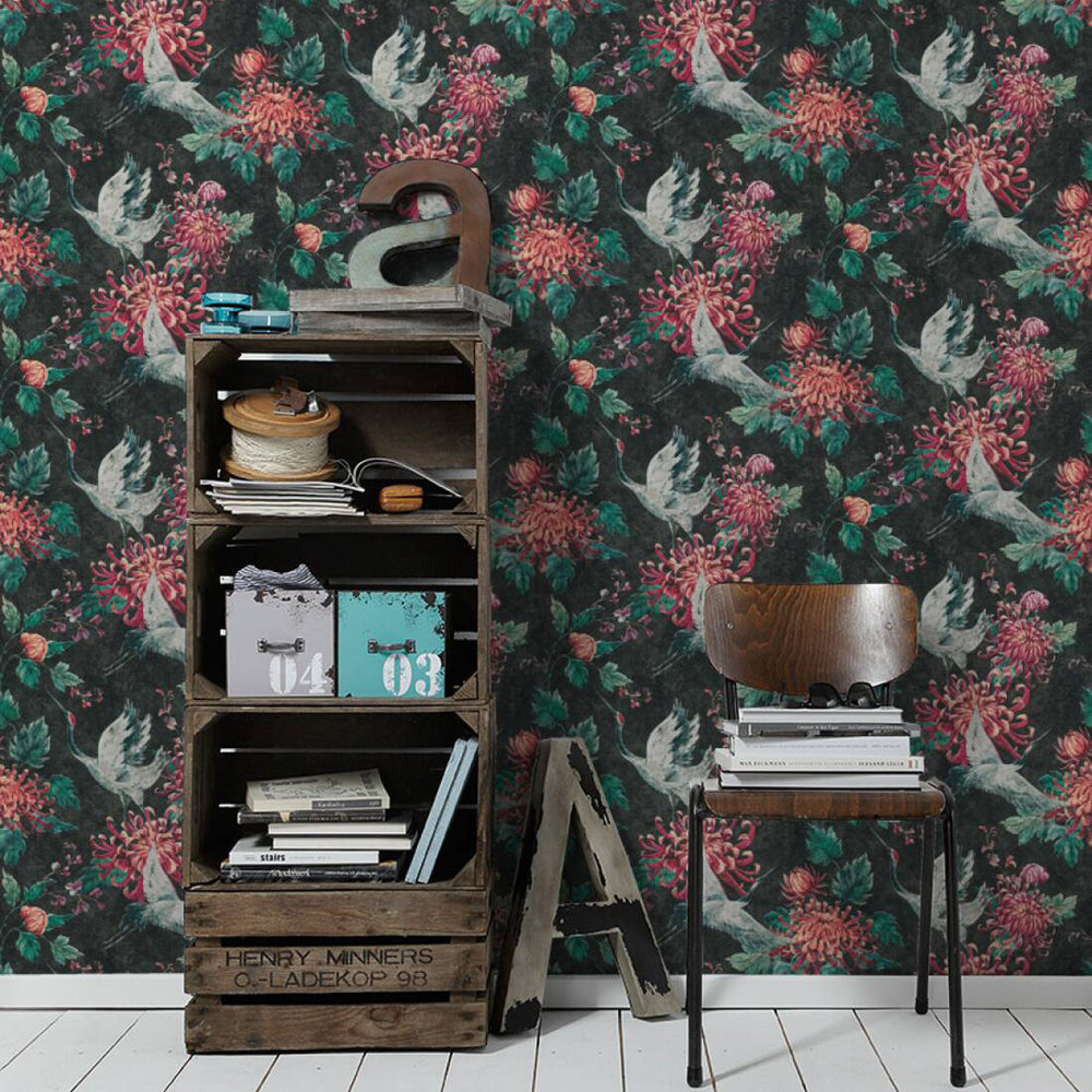 Crane and Floral Bird Wallpaper in Black, Pink and Green - Your 4 Walls