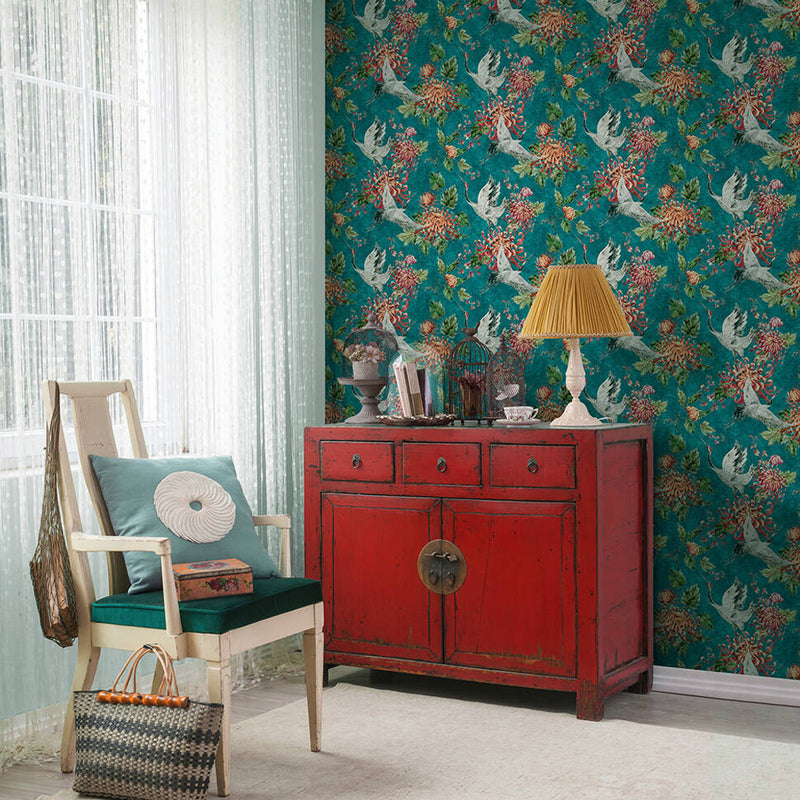 Crane and Floral Bird Wallpaper in Green/Blue and Pink - Your 4 Walls