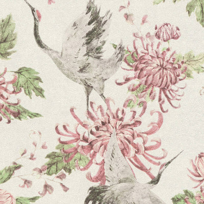 Crane and Floral Bird Wallpaper in Pink, Grey and Off White - Your 4 Walls