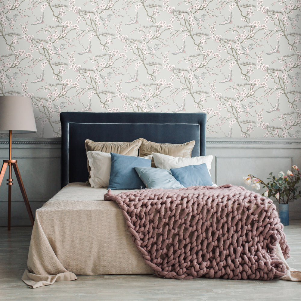Crane and Floral Bird Wallpaper in Blush Pink, Silver & White - Your 4 Walls