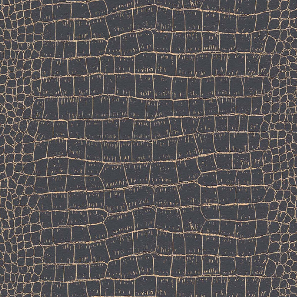 Crocodile Skin Effect Wallpaper In Black And Gold Your 4