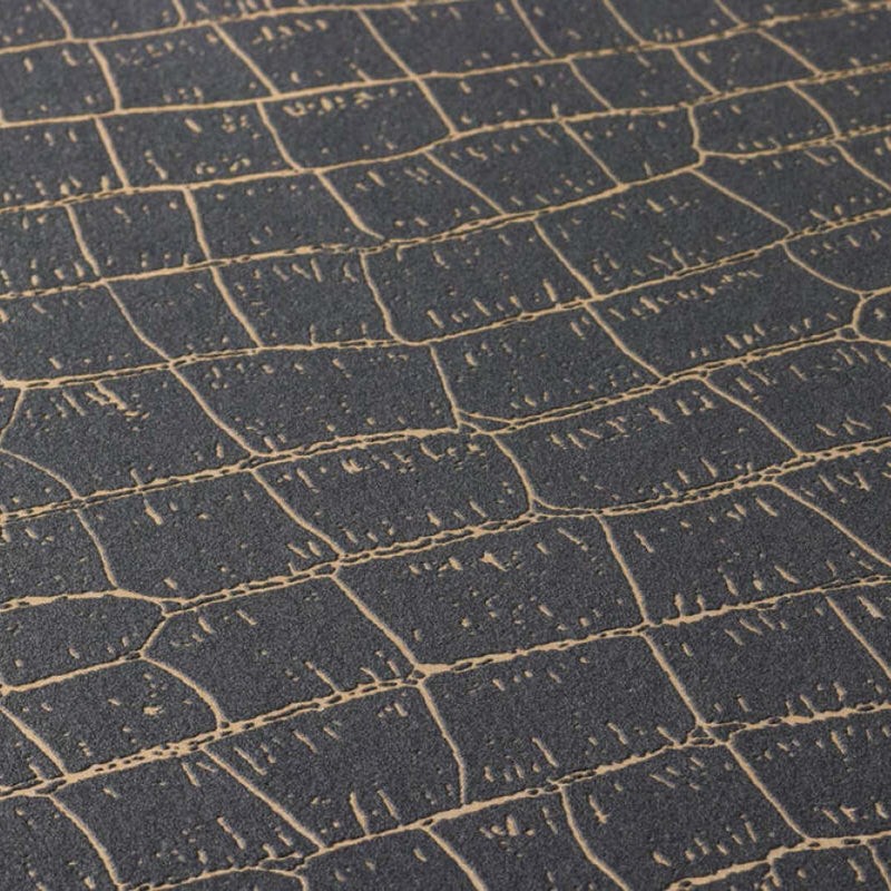 Crocodile Skin Effect Wallpaper in Black and Gold - Your 4 Walls