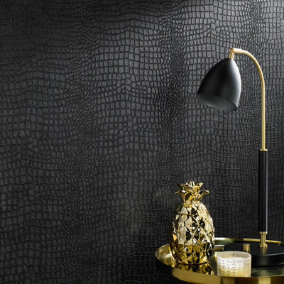 Matt Black Crocodile Skin Effect Wallpaper - Your 4 Walls