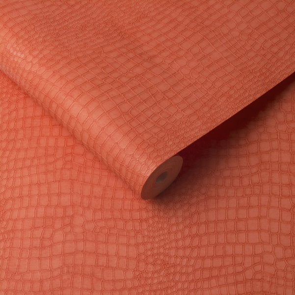 Matt Coral Crocodile Skin Effect Wallpaper - Your 4 Walls