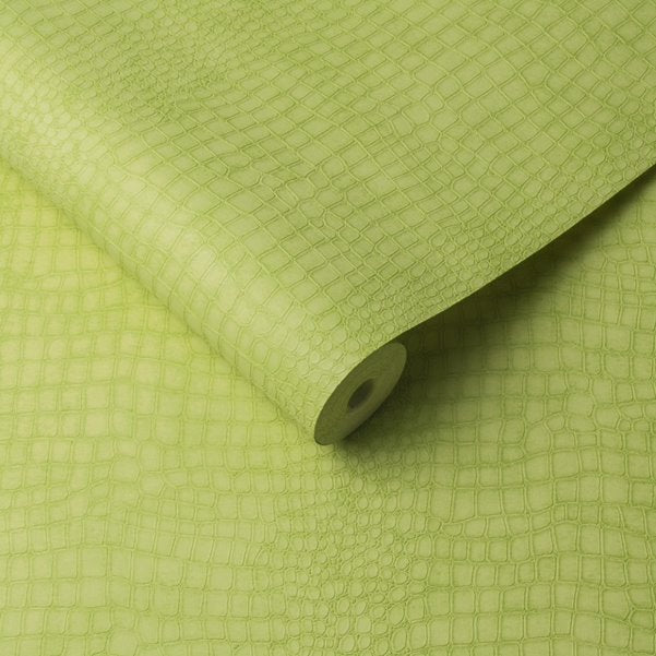Matt Lime Green Small Crocodile Skin Effect Wallpaper - Your 4 Walls