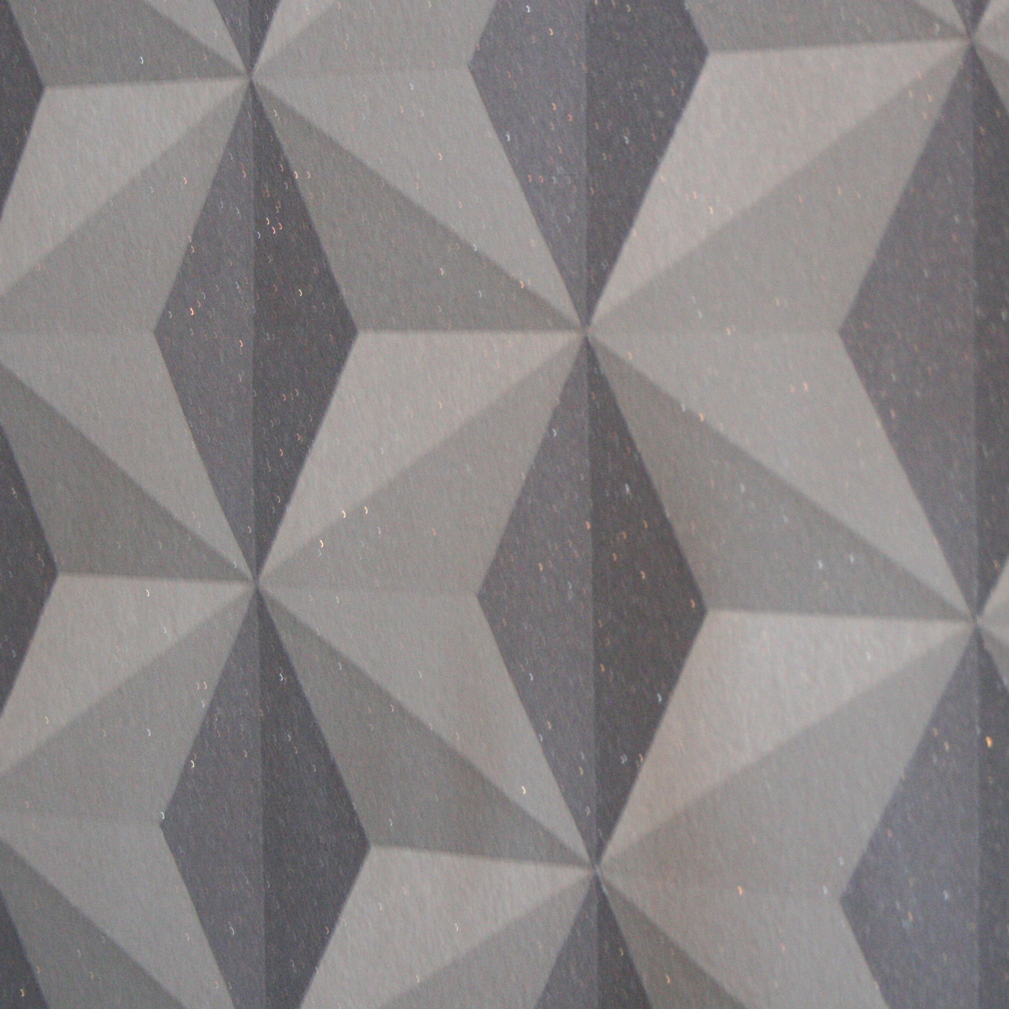 Cuboid Geometric Wallpaper | Charcoal, Grey & Glitter