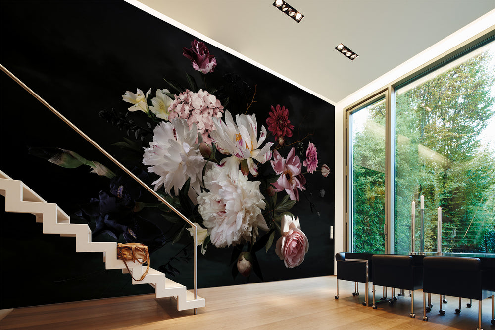Dark Floral Wallpaper Mural in Black, Deep Red, Pink & Green - Your 4 Walls