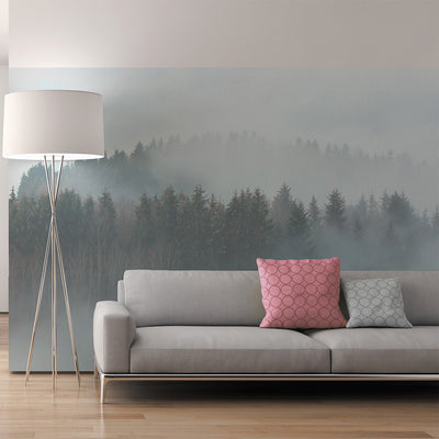 Misty Forest Wallpaper Mural in Blue, Brown, Cream & Black - Your 4 Walls