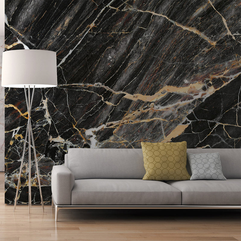 Marble Wallpaper Mural in Black, Copper, Grey & Gold Effect - Your 4 Walls