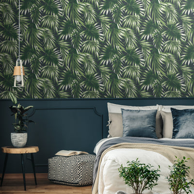'Dark Palm' Leaf Design Wallpaper in Dark Green & Charcoal - Your 4 Walls
