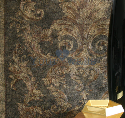 Versace Noble Damask & Stripe Wallpaper in Charcoal Grey & Gold 3 X ROLLS FOR 1 set amount - Your 4 Walls