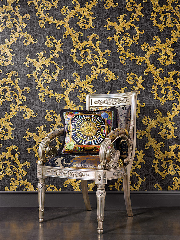 Versace Calligraphy | Designer Floral Trail Wallpaper in White & Gold