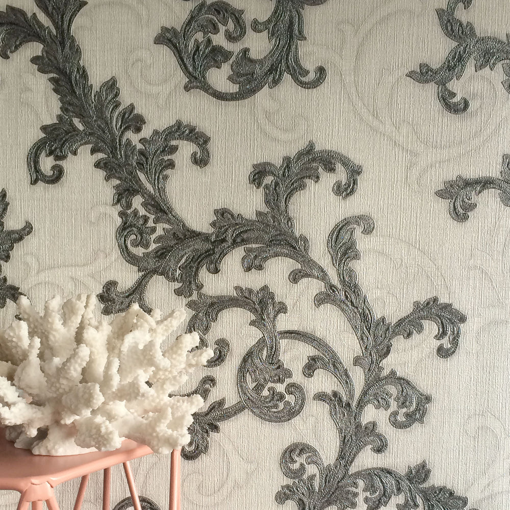 Versace Calligraphy | Designer Floral Trail Wallpaper in White & Grey