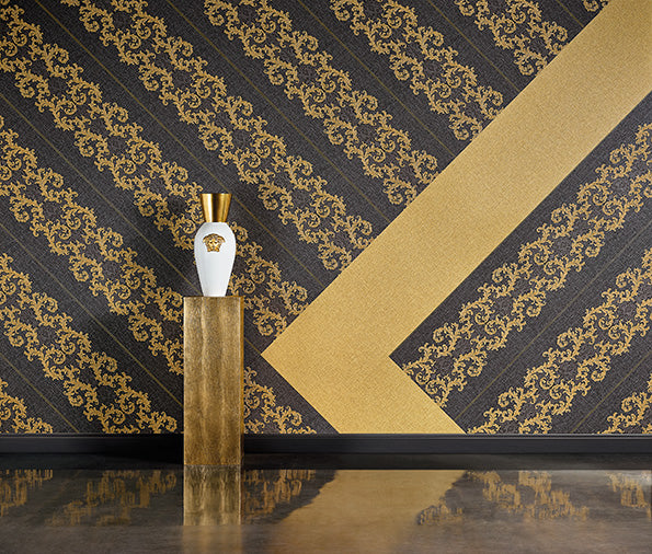 Versace Calligraphy | Designer Floral Trail & Stripe Wallpaper in White & Grey