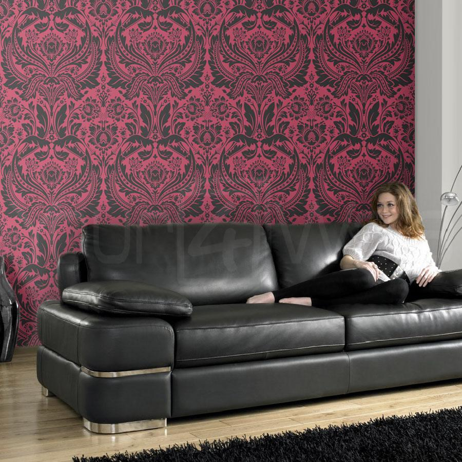 Last Roll Desire Damask Hot Pink and Black Wallpaper - Your 4 Walls