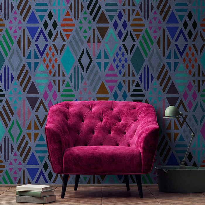 Diamond Geometric Wallpaper Mural in Blue, Black, Purple & Turquoise