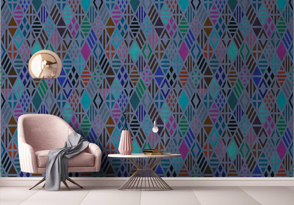 Diamond Geometric Wallpaper Mural in Blue, Black, Purple & Turquoise - Your 4 Walls