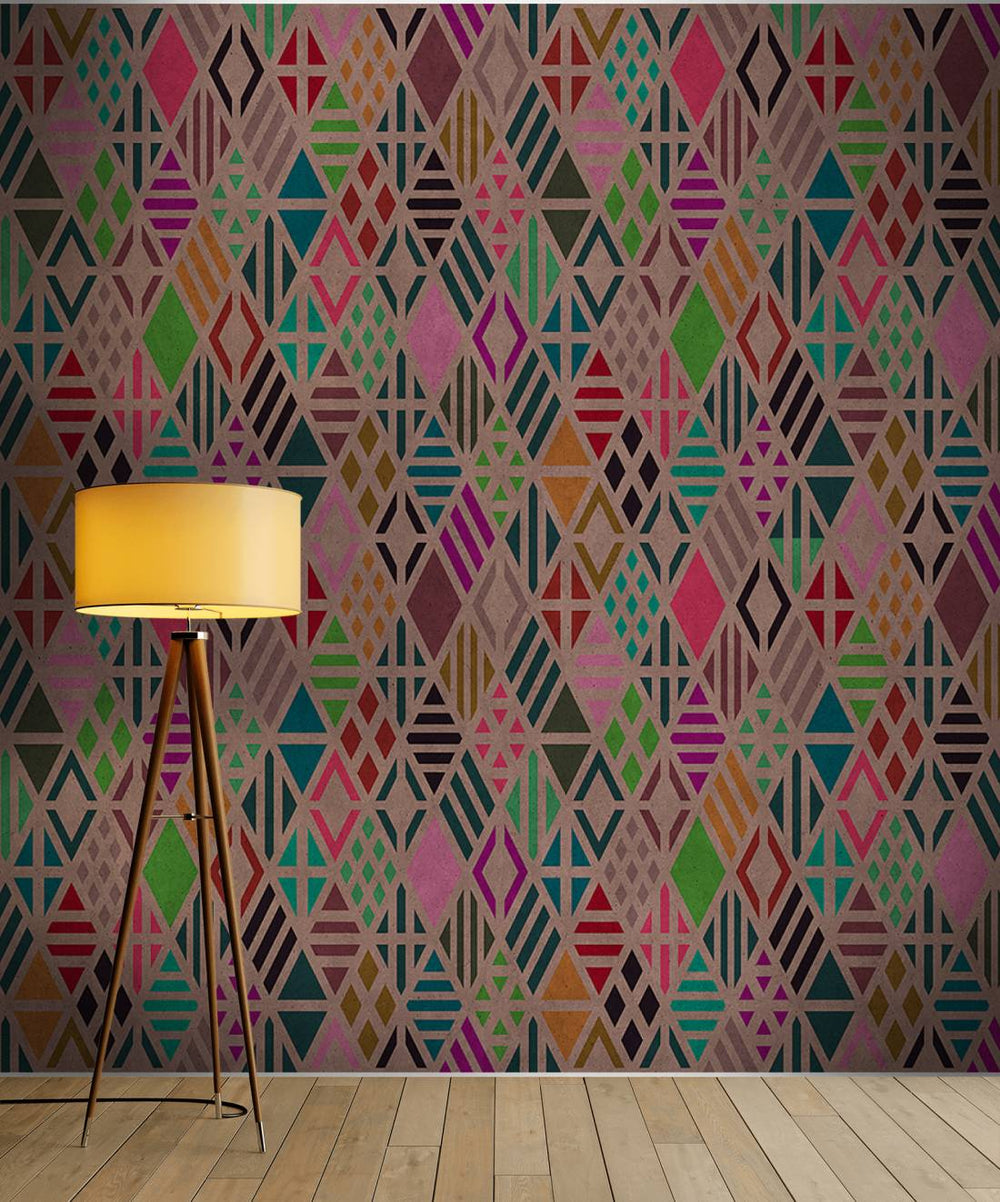 Diamond Geometric Wallpaper Mural in Beige, Black, Pink & Turquoise - Your 4 Walls