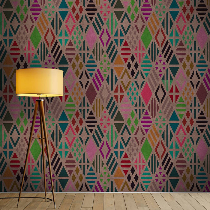 Diamond Geometric Wallpaper Mural in Beige, Black, Pink & Turquoise