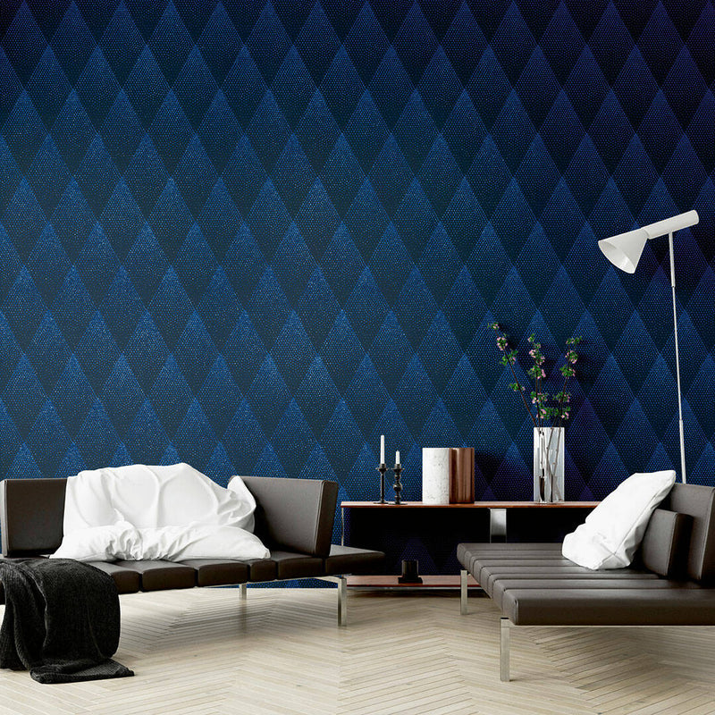 Spotty Diamond Glitter Geometric Wallpaper in Blue & Navy Blue - Your 4 Walls