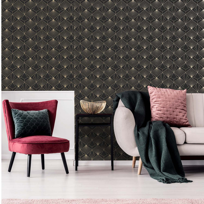 Art Deco Abstract Diamond Tile Effect Geometric Wallpaper | Black and Gold - Your 4 Walls