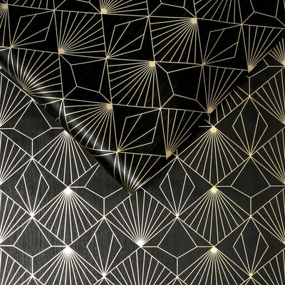 Art Deco Diamond Tile Effect Geometric Wallpaper in Black and Gold - Your 4 Walls