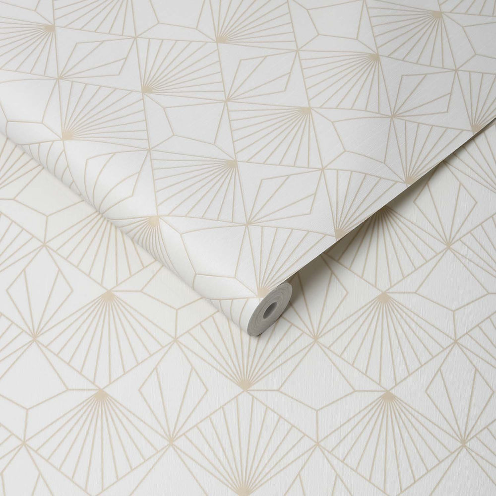 Art Deco Diamond Tile Effect Geometric Wallpaper in Off White and Matt Gold - Your 4 Walls