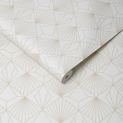 Art Deco Diamond Tile Effect Geometric Wallpaper in Off White and Gold - Your 4 Walls