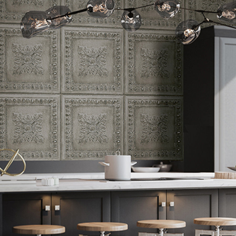 Powder Coated Tin Tile Effect Wallpaper | Grey & Metallic Silver - Your 4 Walls