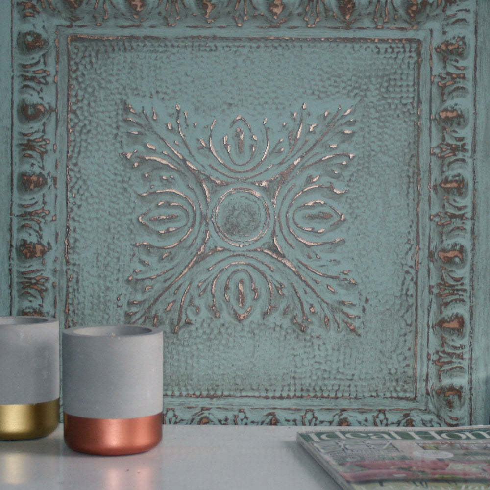 Powder Coated Tin Tile Effect Wallpaper | Aqua Green  & Metallic Copper / Brass - Your 4 Walls