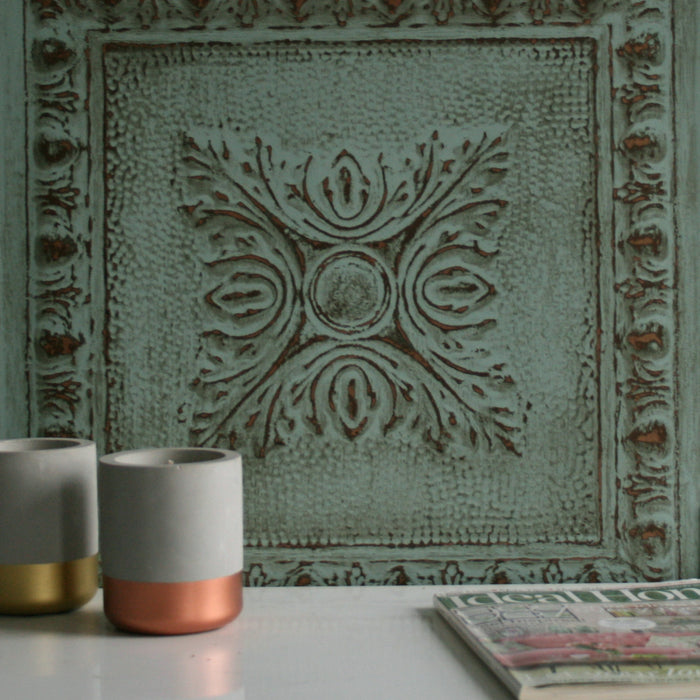 Powder Coated Tin Tile Effect Wallpaper | Aqua Green  & Metallic Copper / Brass