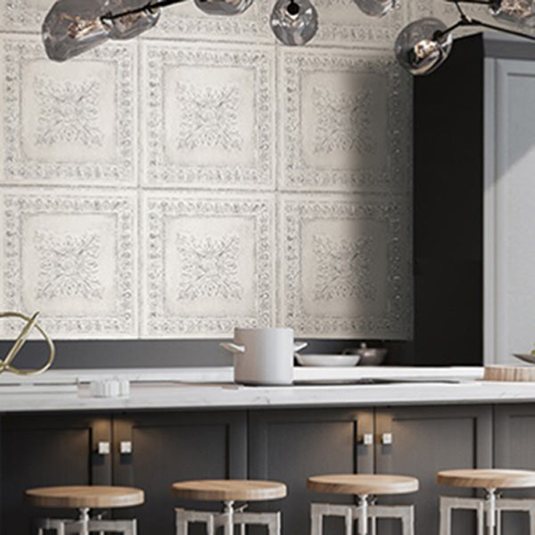 Powder Coated Tin Tile Effect Wallpaper | White  & Metallic Silver / Grey