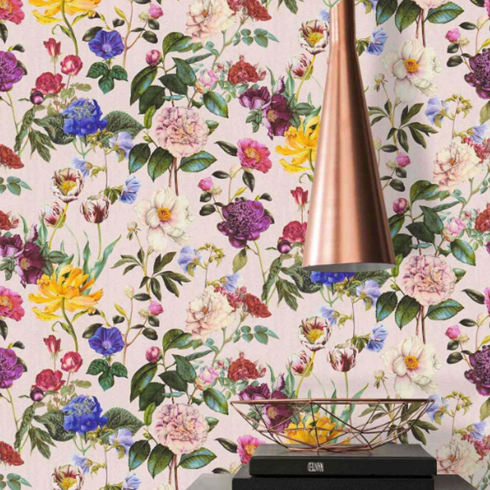 Roses Floral Wallpaper in Pink, Purple & Yellow - Your 4 Walls