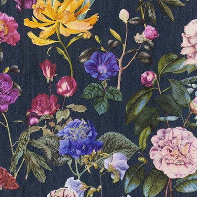 Roses Wallpaper in Blue, Purple & Pink - Your 4 Walls