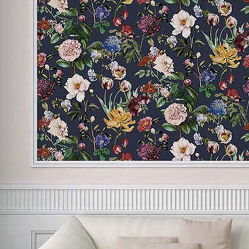Roses Floral Wallpaper in Blue, Purple & Pink - Your 4 Walls