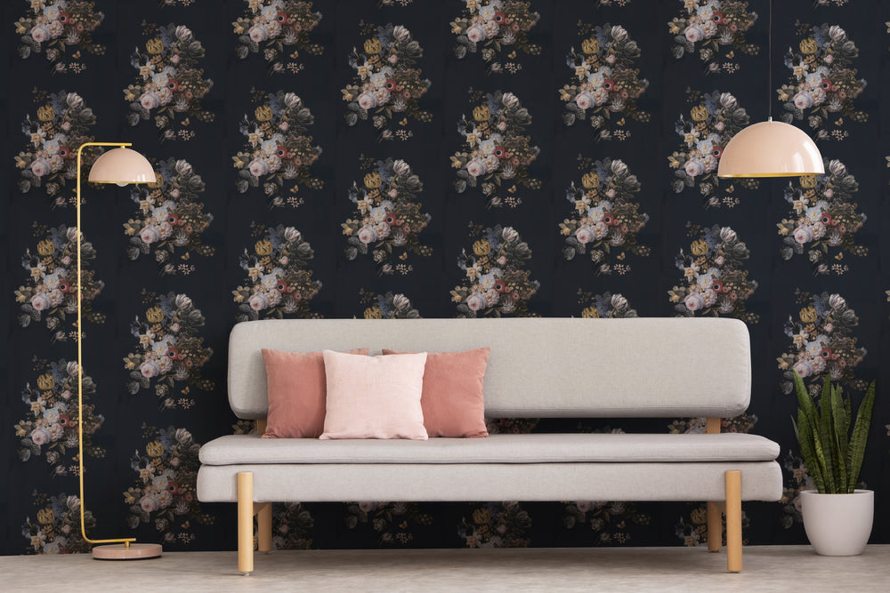 Floral Bouquet Wallpaper in Blue, Pink, Green & Pink - Your 4 Walls