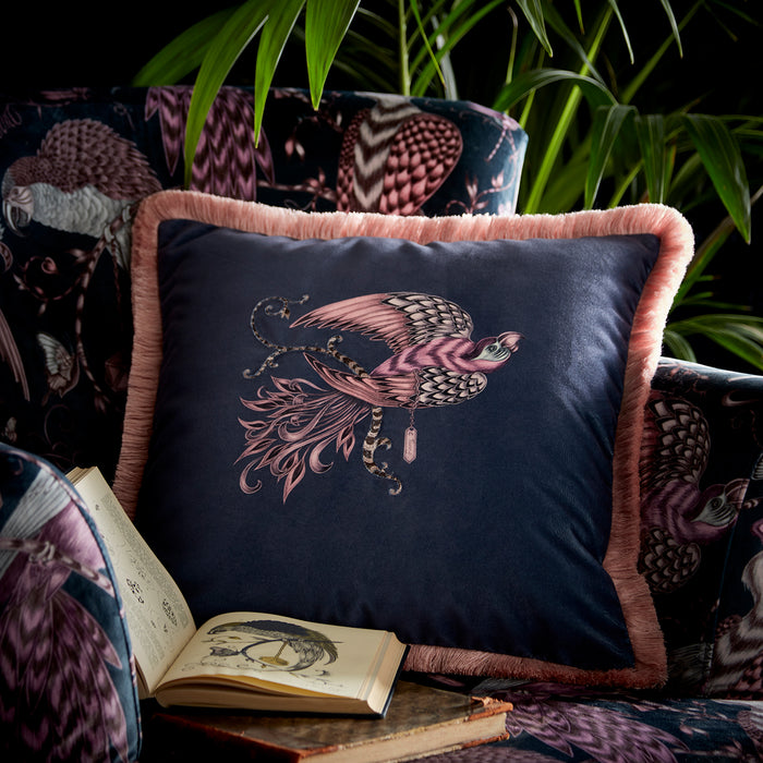 Emma Shipley Designer 'Audubon' Bird Design Square Cushion | Blue/Purple & Pink
